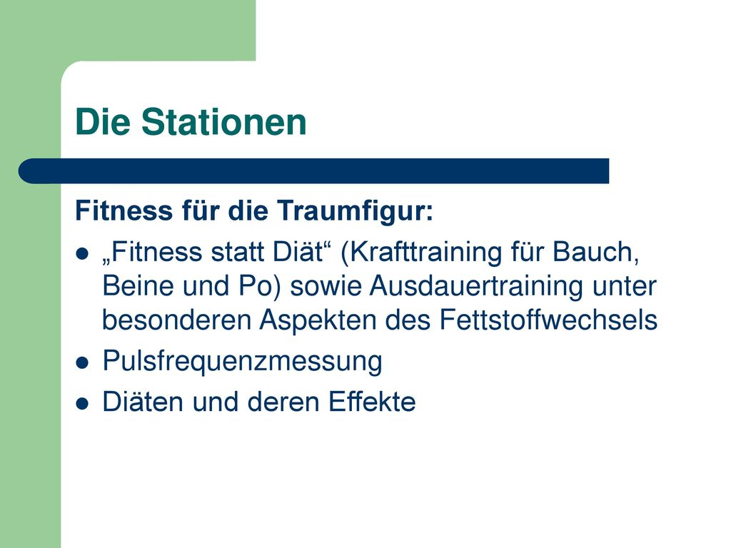 Die Stationen Fitness für die Traumfigur: