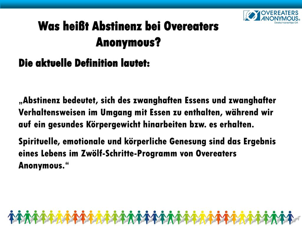 Was heißt Abstinenz bei Overeaters Anonymous