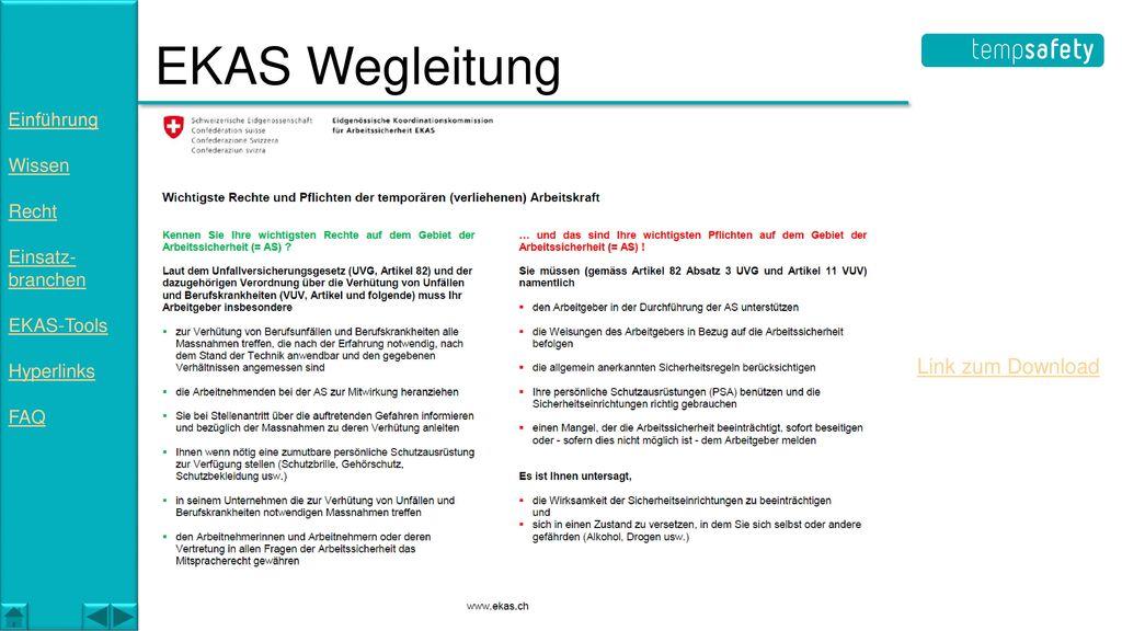 EKAS Wegleitung Link zum Download Einführung Wissen Recht