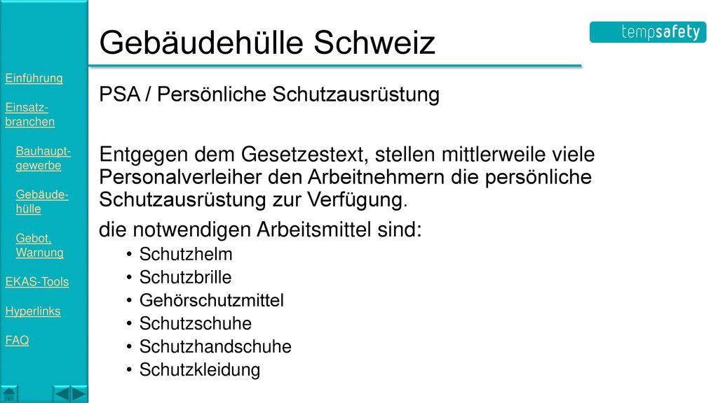 Gebäudehülle Schweiz PSA / Persönliche Schutzausrüstung