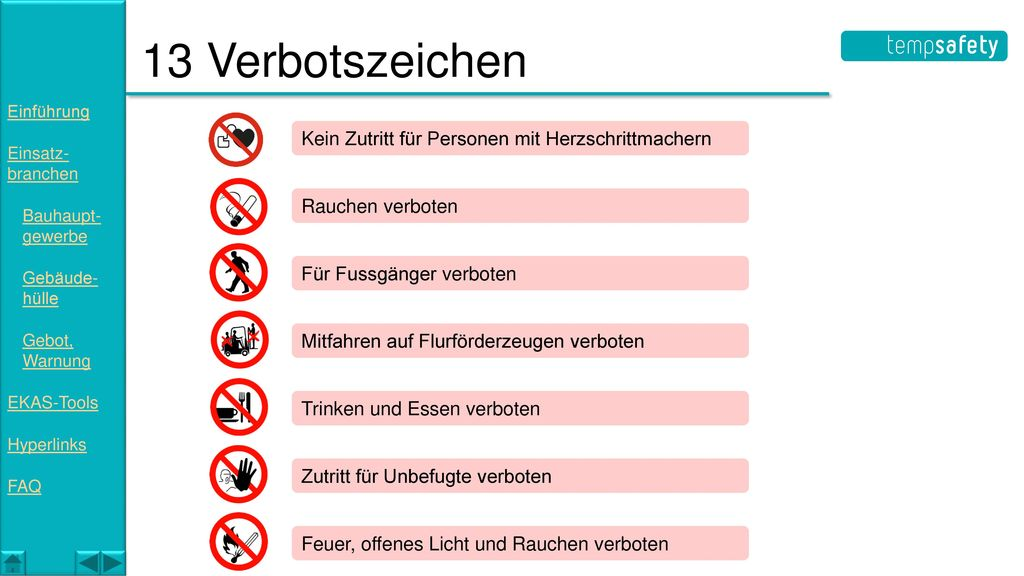 13 Verbotszeichen Kein Zutritt für Personen mit Herzschrittmachern