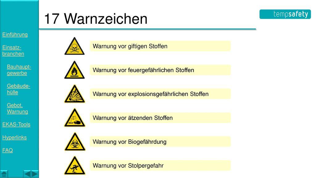 17 Warnzeichen Warnung vor giftigen Stoffen