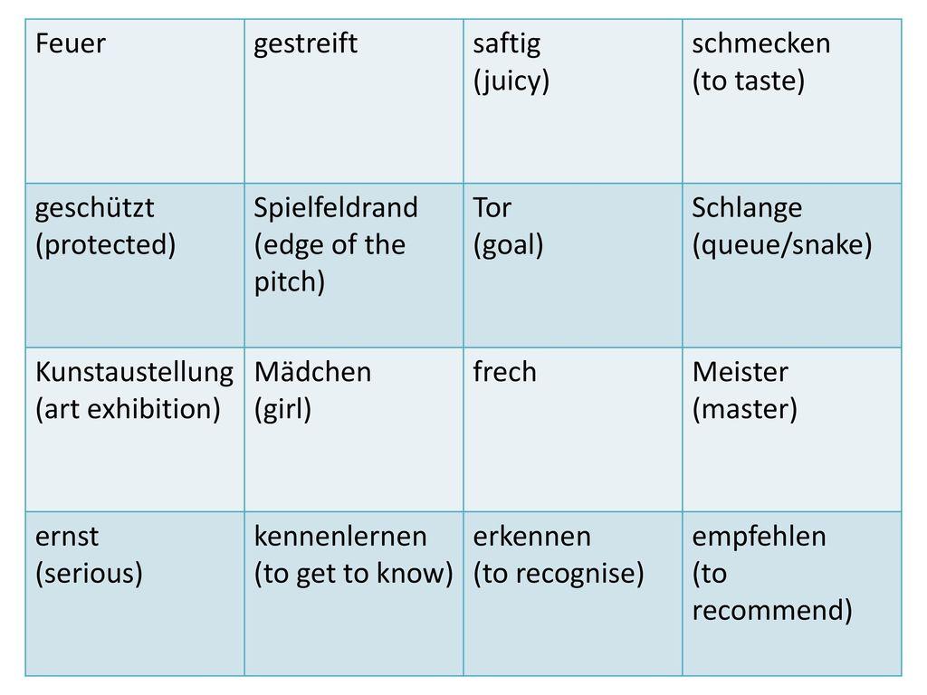 Feuer gestreift. saftig. (juicy) schmecken. (to taste) geschützt. (protected) Spielfeldrand.