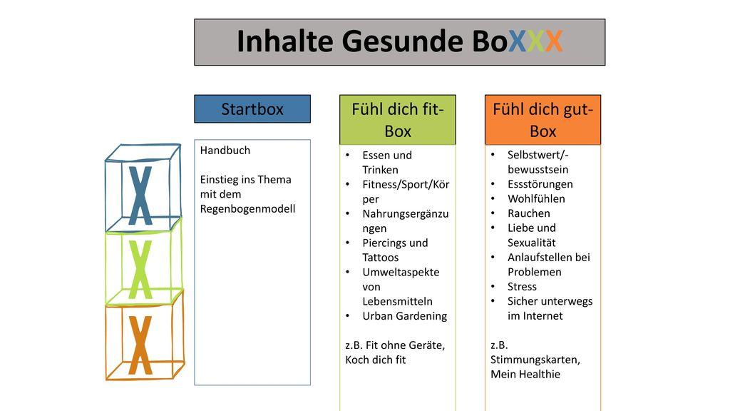 Inhalte Gesunde BoXXX Startbox Fühl dich fit-Box Fühl dich gut-Box