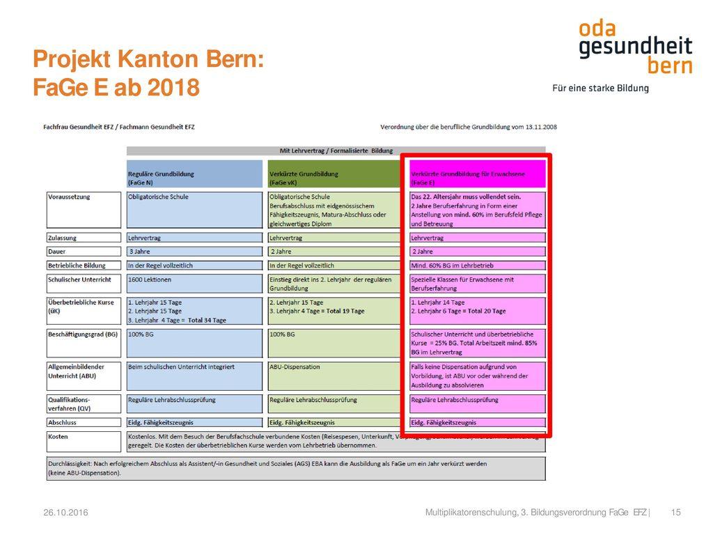 Projekt Kanton Bern: FaGe E ab 2018