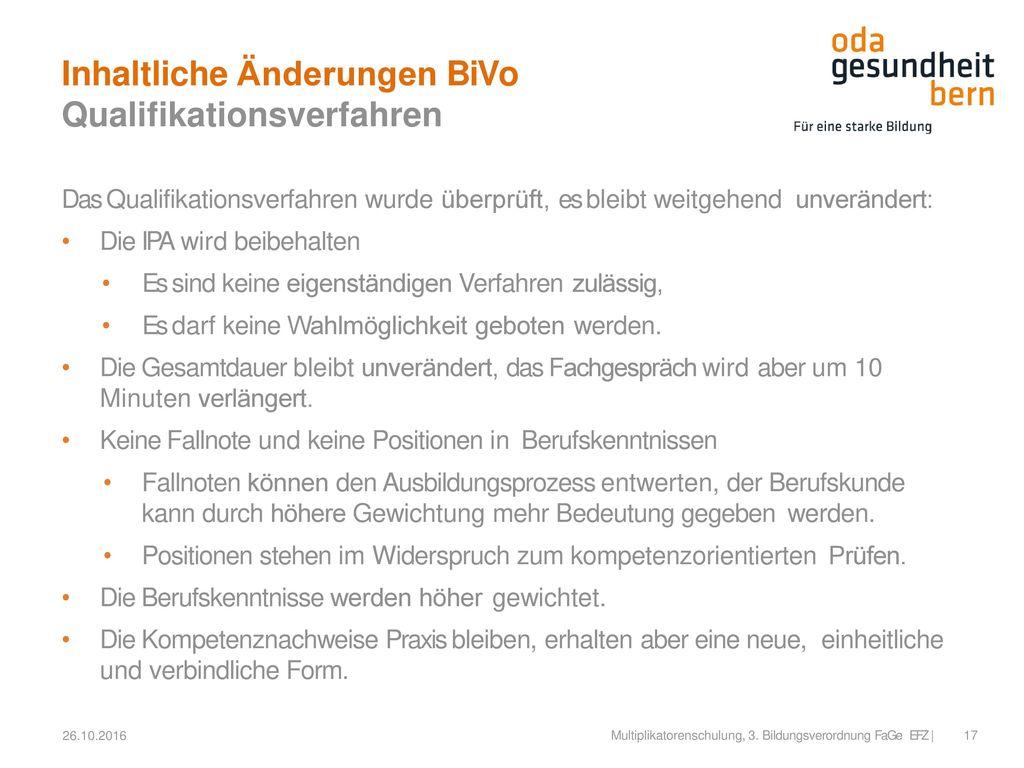 Inhaltliche Änderungen BiVo Qualifikationsverfahren