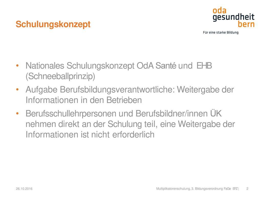 Nationales Schulungskonzept OdA Santé und EHB (Schneeballprinzip)