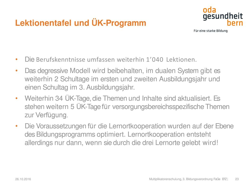 Lektionentafel und ÜK-Programm