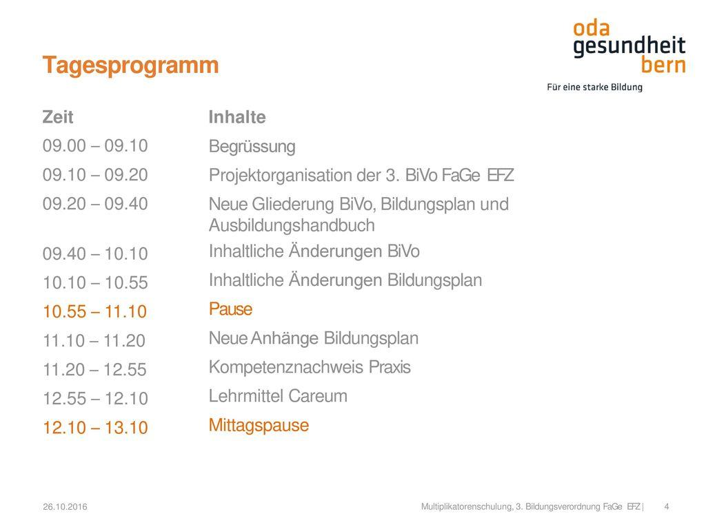 Tagesprogramm Zeit 09.00 – 09.10 09.10 – 09.20 09.20 – 09.40 Inhalte