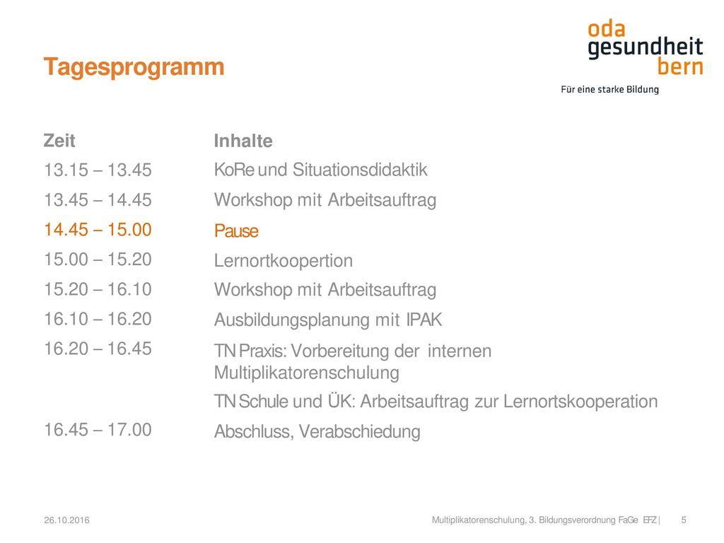 Tagesprogramm Zeit 13.15 – 13.45 13.45 – 14.45 14.45 – 15.00