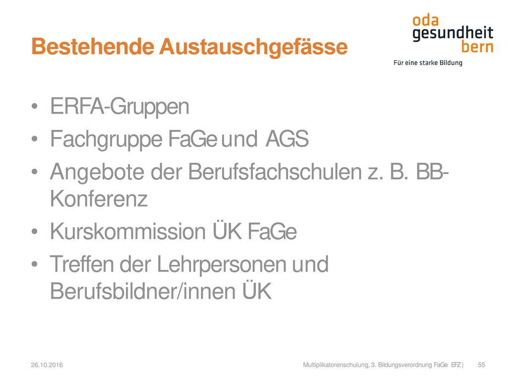 Bestehende Austauschgefässe ERFA-Gruppen Fachgruppe FaGe und AGS