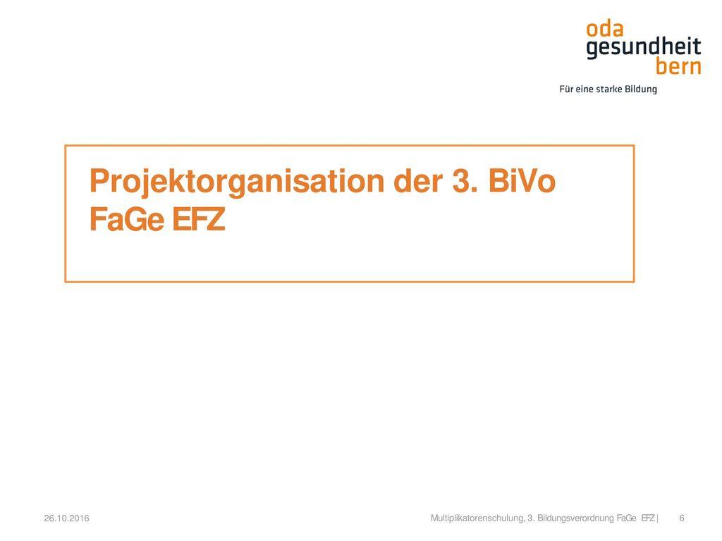 Projektorganisation der 3. BiVo FaGe EFZ