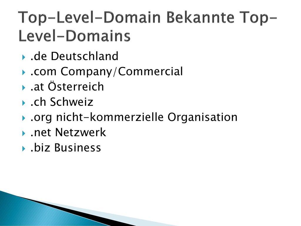 Top-Level-Domain Bekannte Top-Level-Domains