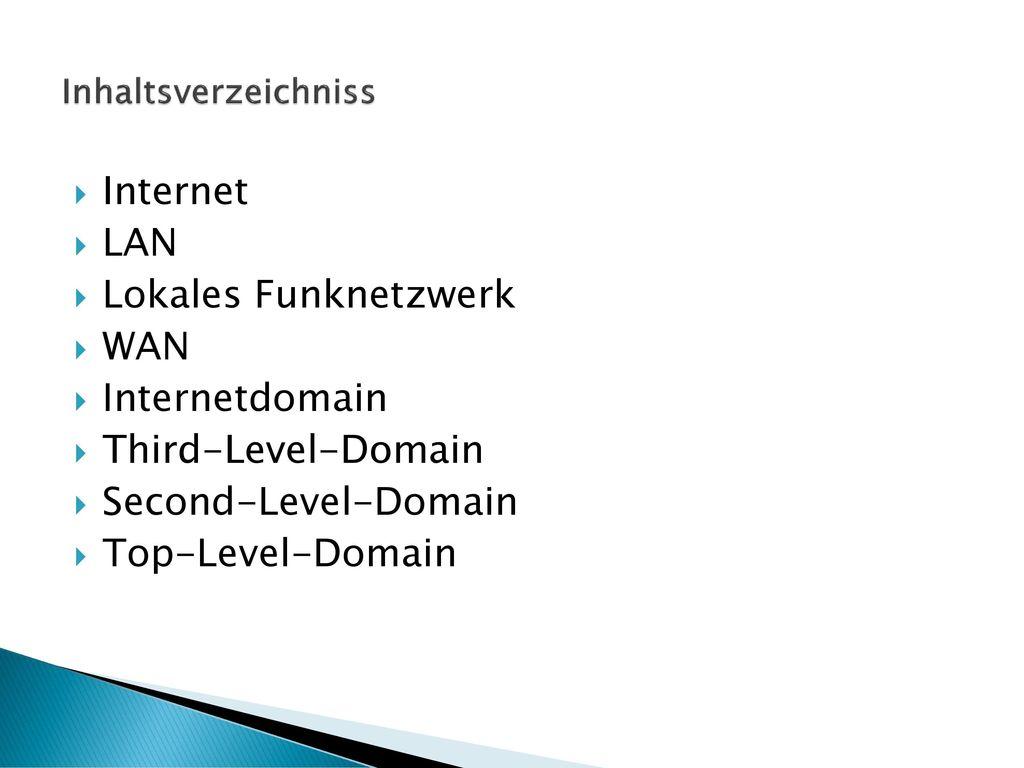 Internet LAN Lokales Funknetzwerk WAN Internetdomain