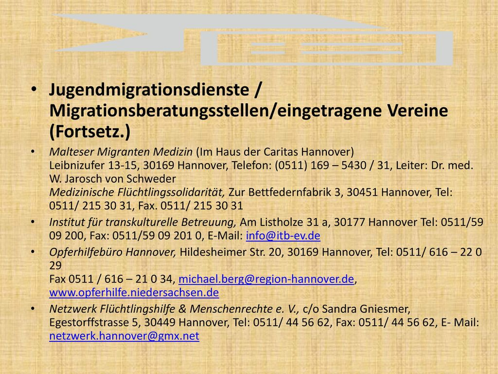 Jugendmigrationsdienste / Migrationsberatungsstellen/eingetragene Vereine (Fortsetz.)
