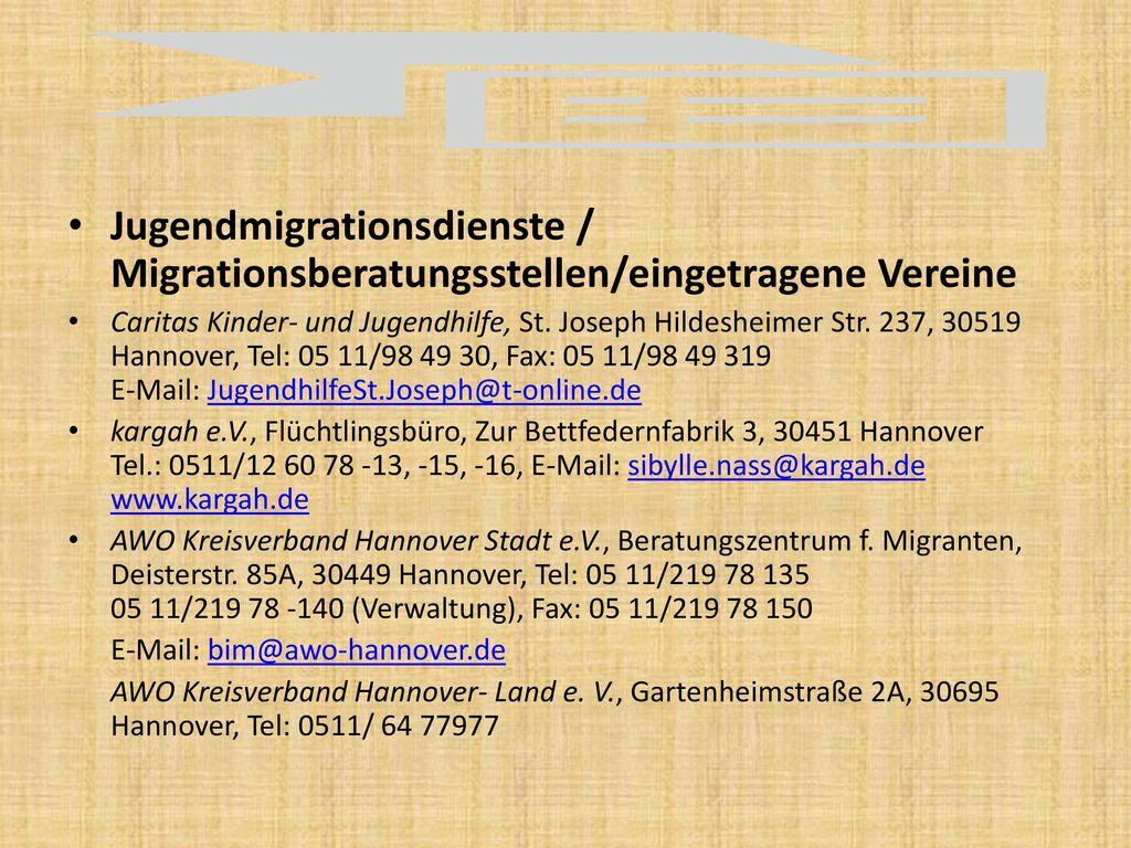 Jugendmigrationsdienste / Migrationsberatungsstellen/eingetragene Vereine