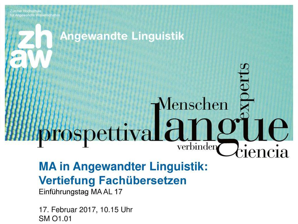 MA in Angewandter Linguistik: Vertiefung Fachübersetzen