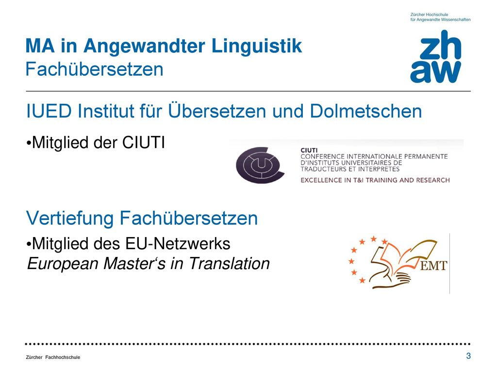 MA in Angewandter Linguistik Fachübersetzen