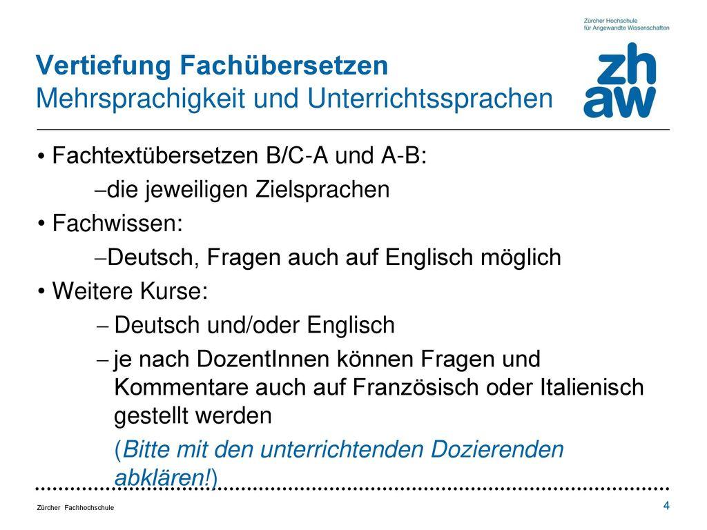 Vertiefung Fachübersetzen Mehrsprachigkeit und Unterrichtssprachen