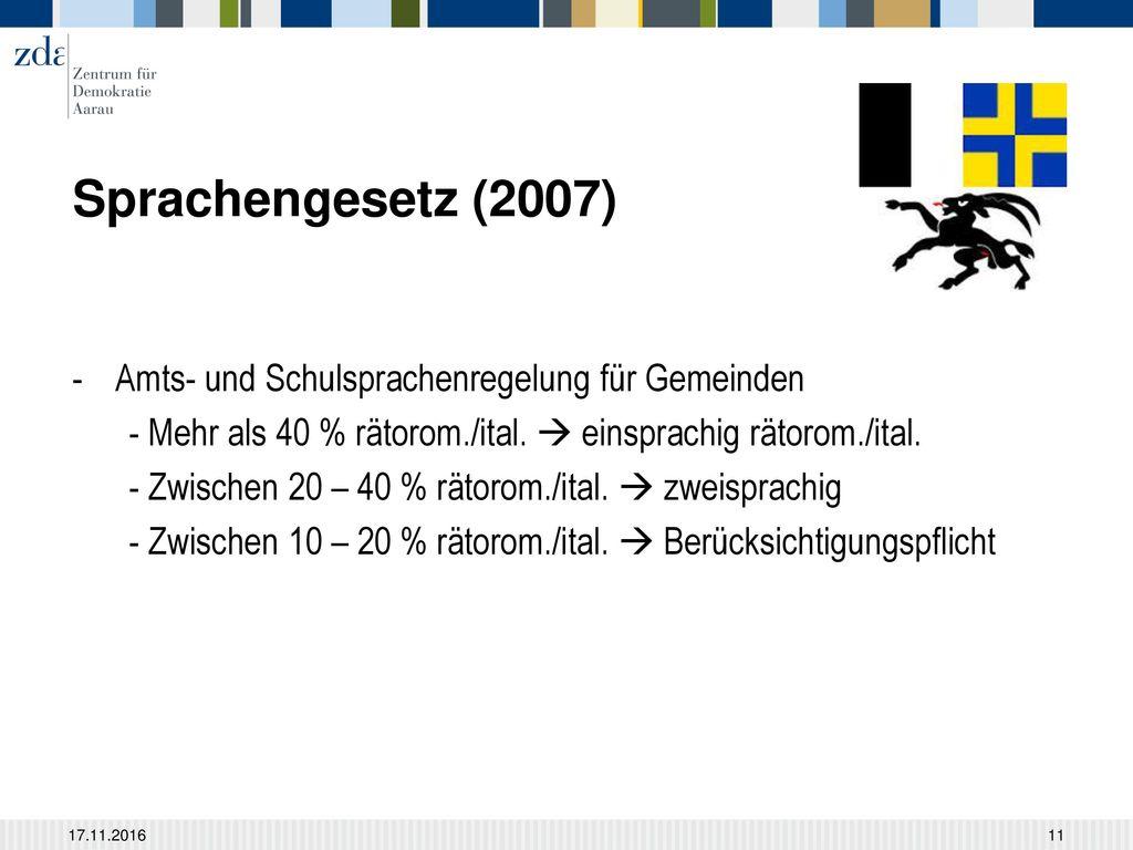 Sprachengesetz (2007) Amts- und Schulsprachenregelung für Gemeinden