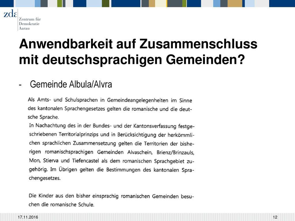 Anwendbarkeit auf Zusammenschluss mit deutschsprachigen Gemeinden