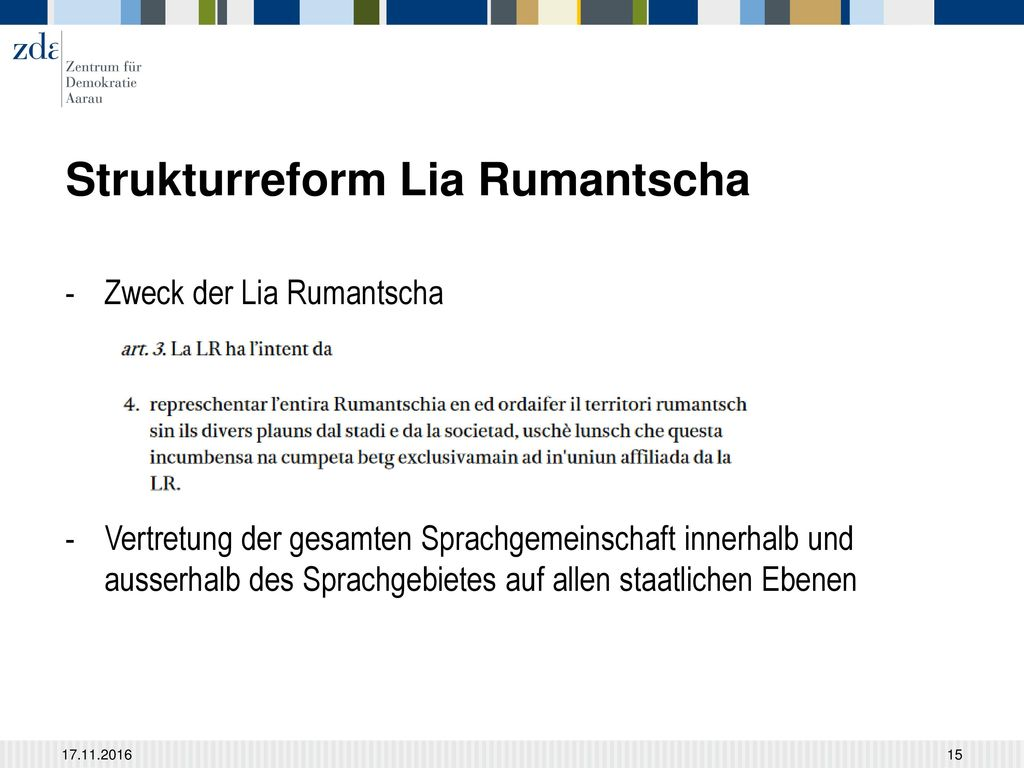 Strukturreform Lia Rumantscha
