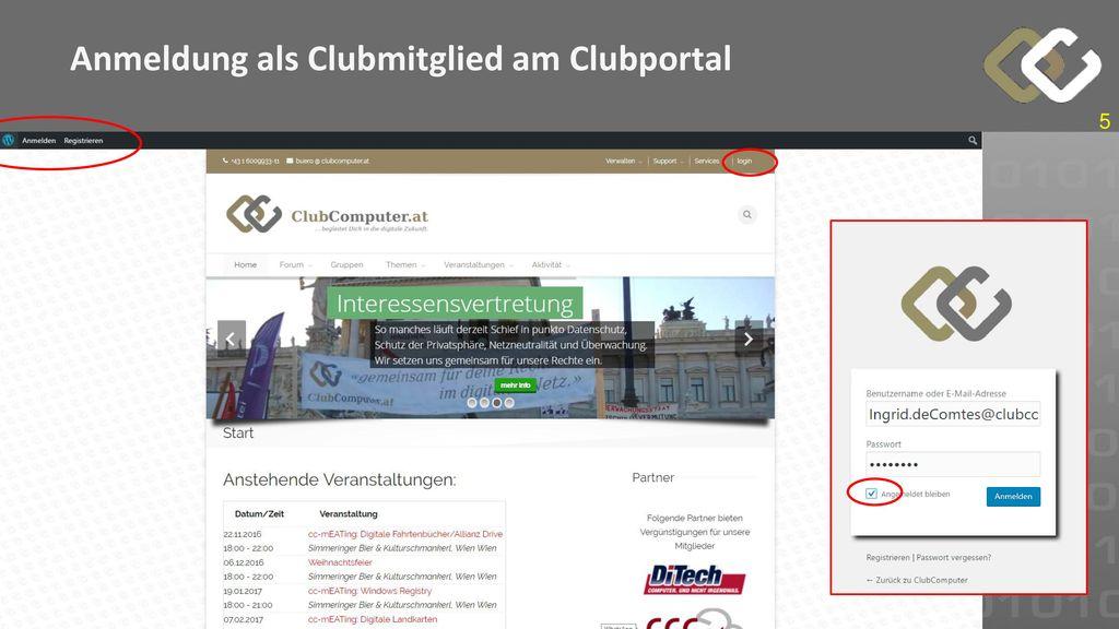 Anmeldung als Clubmitglied am Clubportal