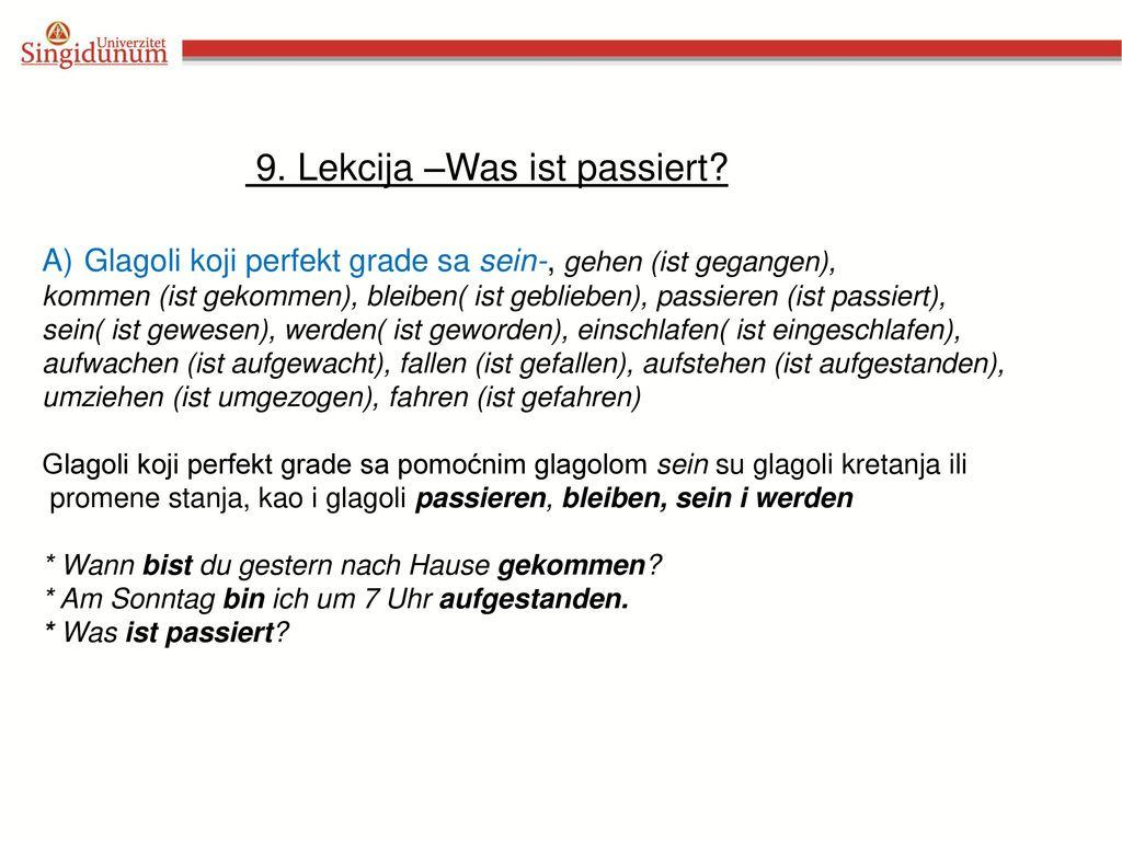 9. Lekcija –Was ist passiert