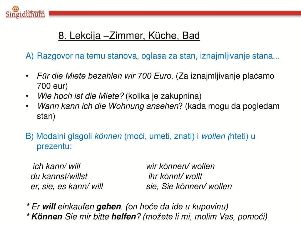 8. Lekcija –Zimmer, Küche, Bad