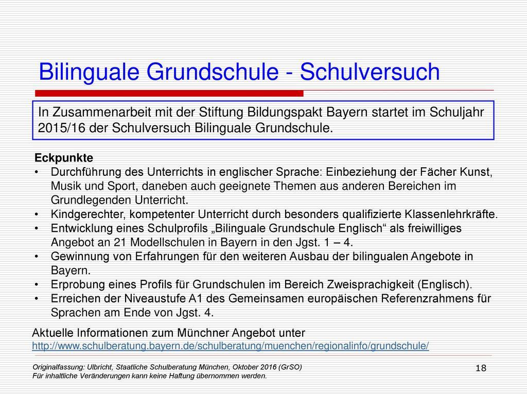 Bilinguale Grundschule - Schulversuch