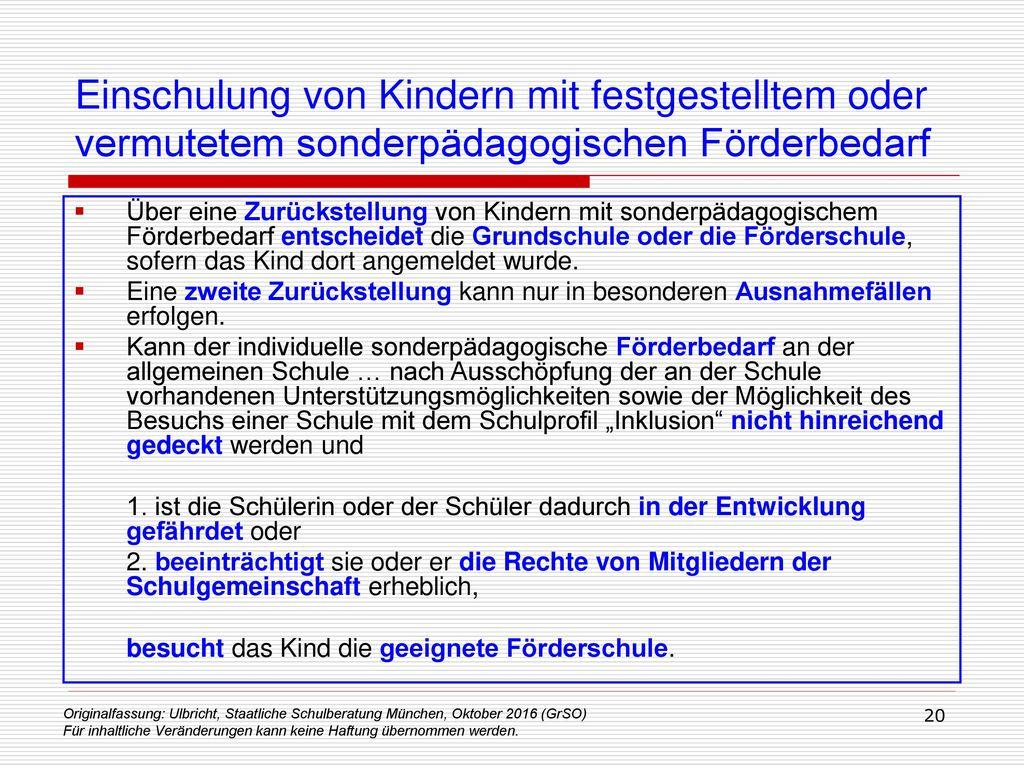 Einschulung von Kindern mit festgestelltem oder vermutetem sonderpädagogischen Förderbedarf