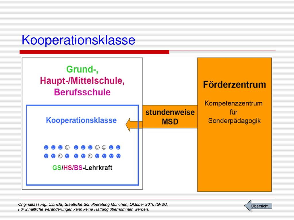 Kooperationsklasse Unterricht in Kooperationsklassen. Art. 30a Abs.7 (1)