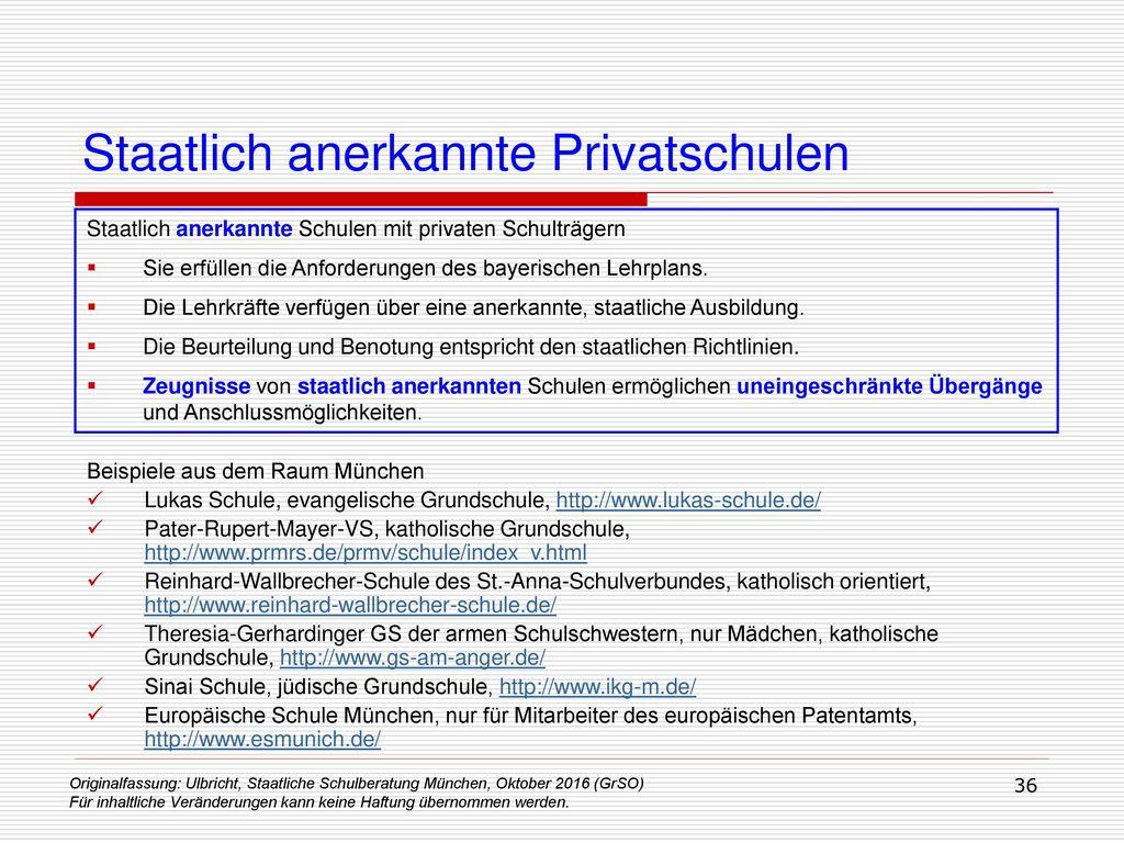 Staatlich anerkannte Privatschulen
