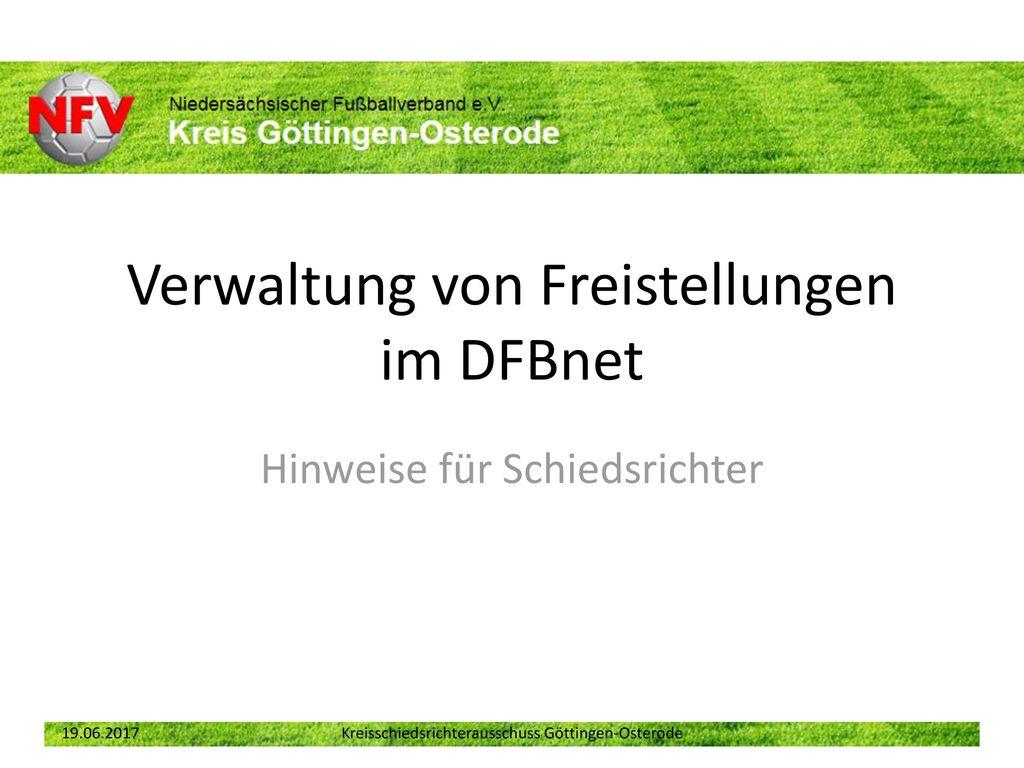 Verwaltung von Freistellungen im DFBnet
