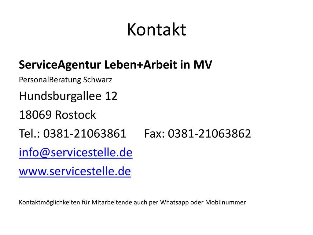 Kontakt ServiceAgentur Leben+Arbeit in MV Hundsburgallee 12