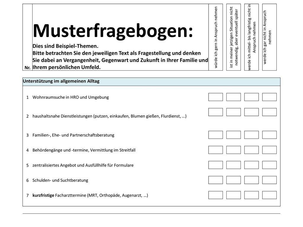 Musterfragebogen: Dies sind Beispiel-Themen.