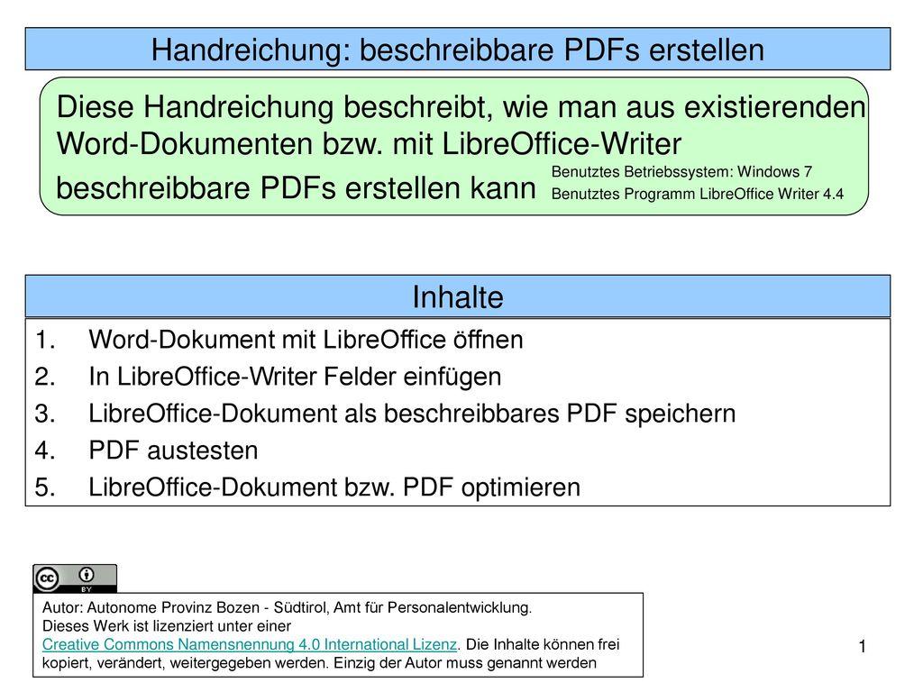 Handreichung: beschreibbare PDFs erstellen