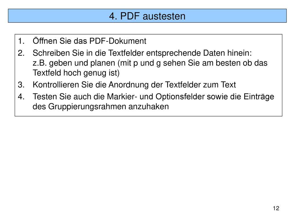 4. PDF austesten Öffnen Sie das PDF-Dokument