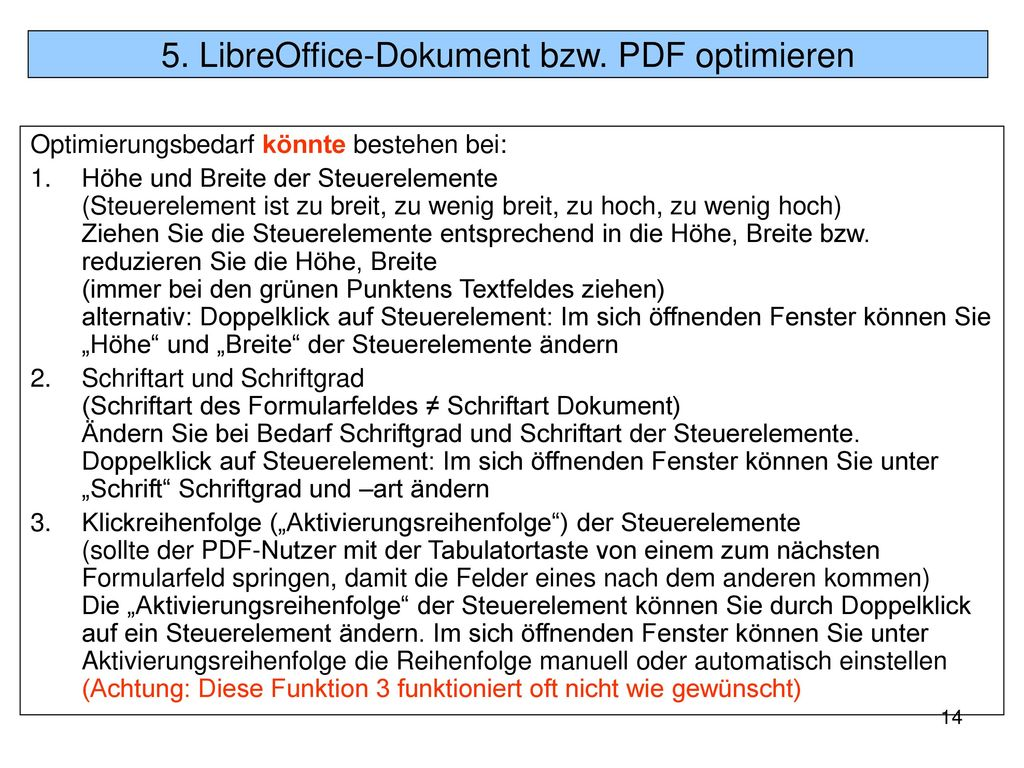 5. LibreOffice-Dokument bzw. PDF optimieren