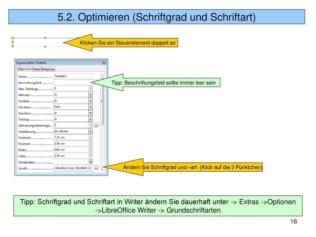 5.2. Optimieren (Schriftgrad und Schriftart)