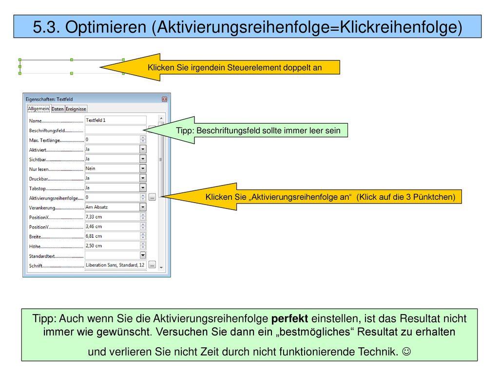 5.3. Optimieren (Aktivierungsreihenfolge=Klickreihenfolge)