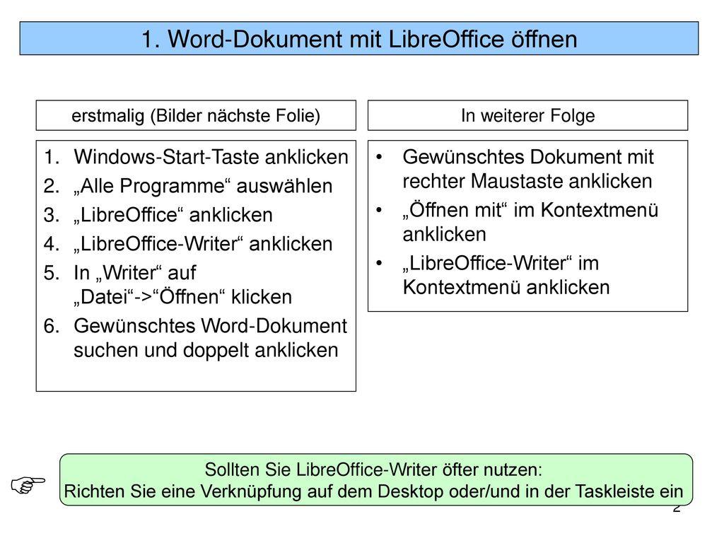 1. Word-Dokument mit LibreOffice öffnen