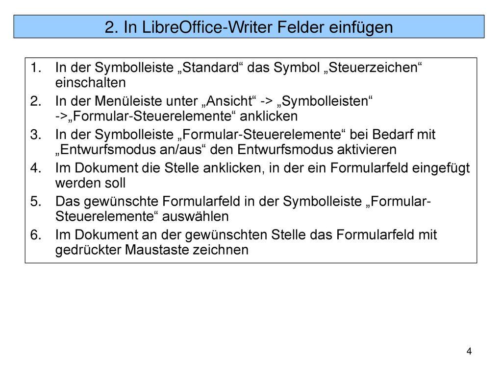 2. In LibreOffice-Writer Felder einfügen
