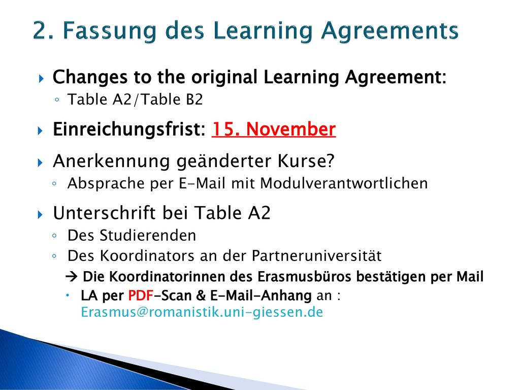 2. Fassung des Learning Agreements