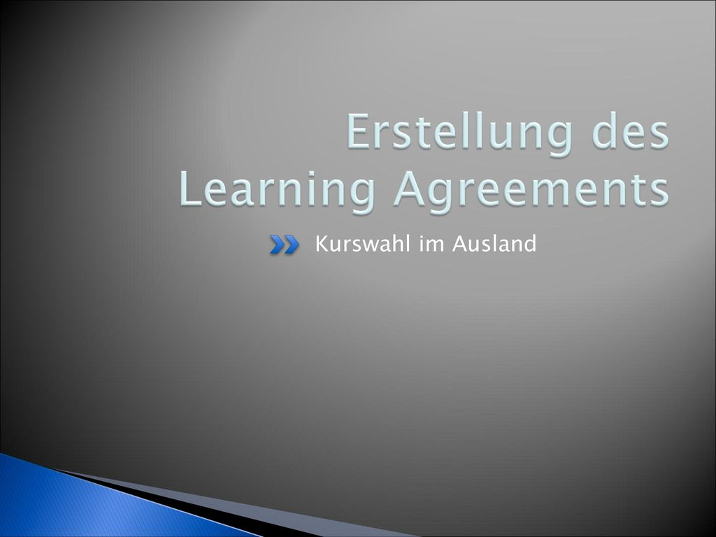 Erstellung des Learning Agreements