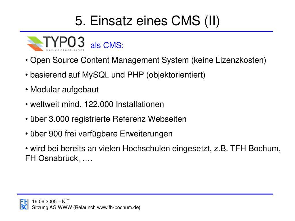 5. Einsatz eines CMS (II) als CMS: