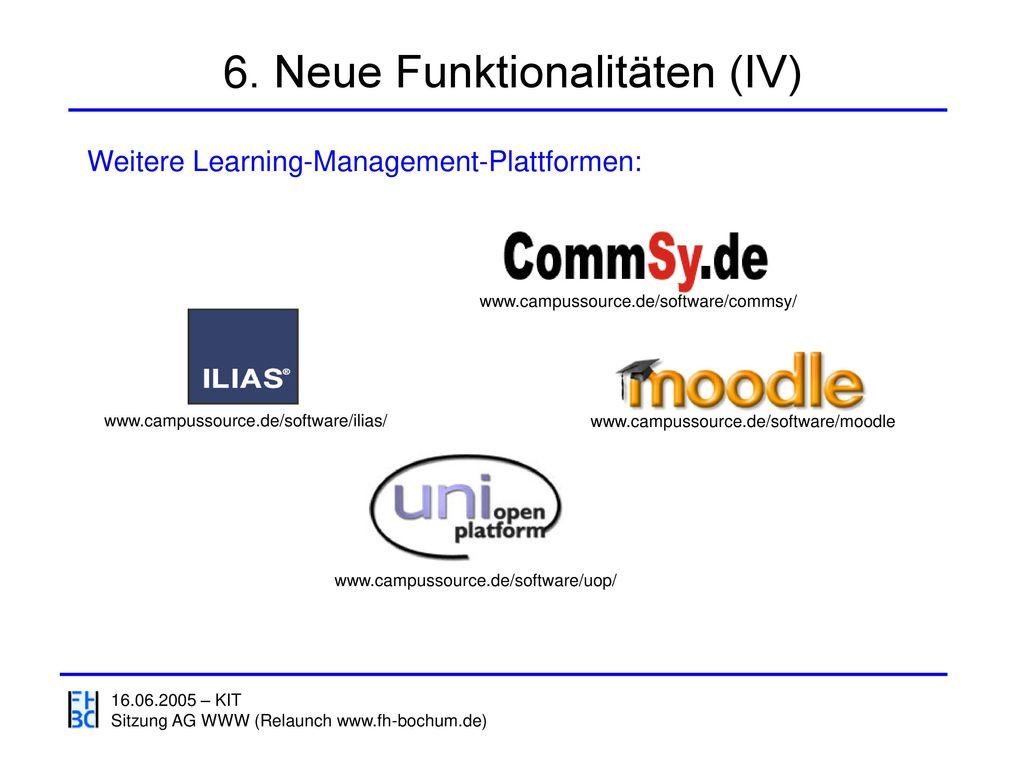 6. Neue Funktionalitäten (IV)