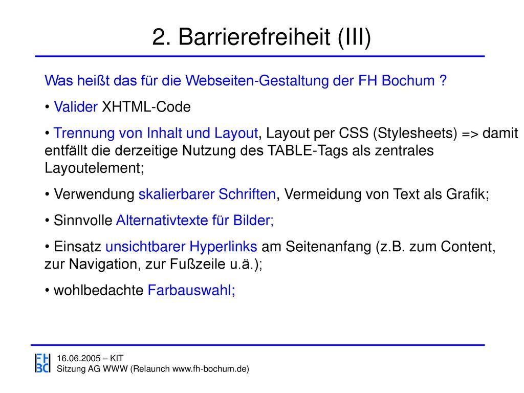 2. Barrierefreiheit (III)