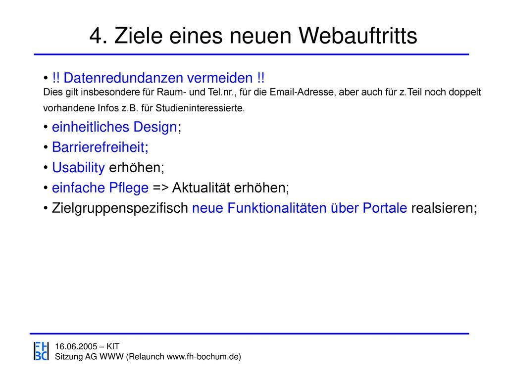 4. Ziele eines neuen Webauftritts
