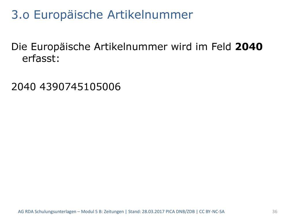3.o Europäische Artikelnummer